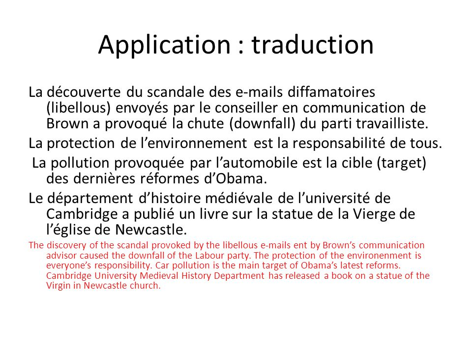 Application : traduction