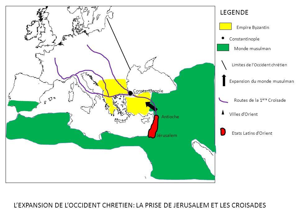 LEGENDE Empire Byzantin. Constantinople. Monde musulman. Limites de l'Occident chrétien. Expansion du monde musulman.