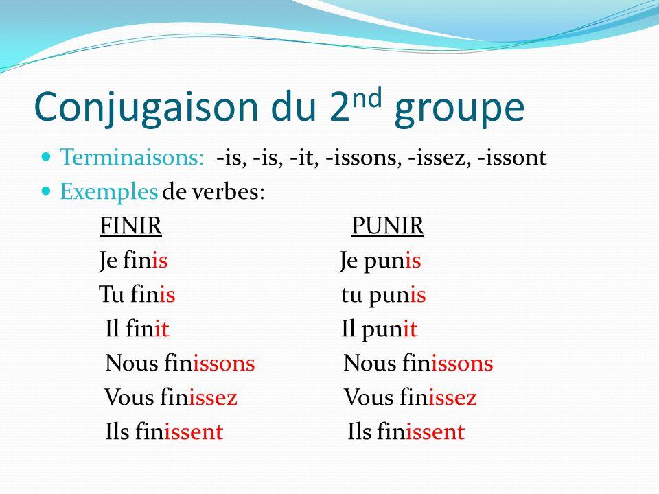 Conjugaison du 2nd groupe