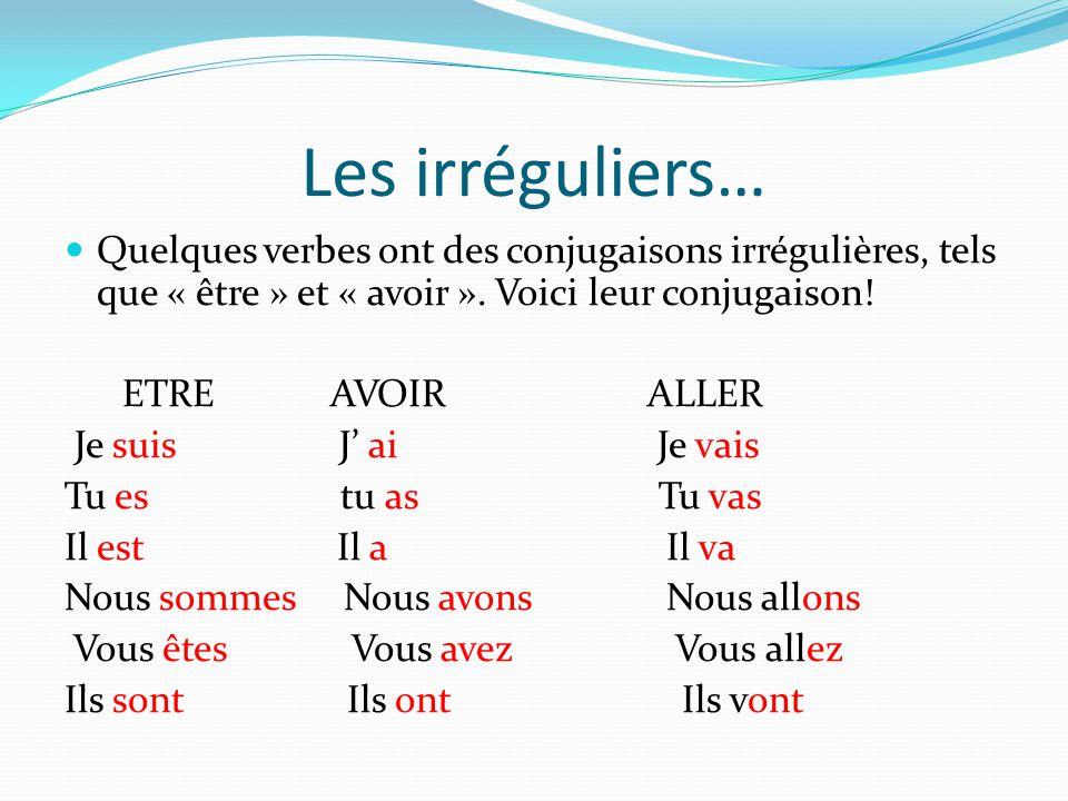 Les irréguliers… Quelques verbes ont des conjugaisons irrégulières, tels que « être » et « avoir ». Voici leur conjugaison!