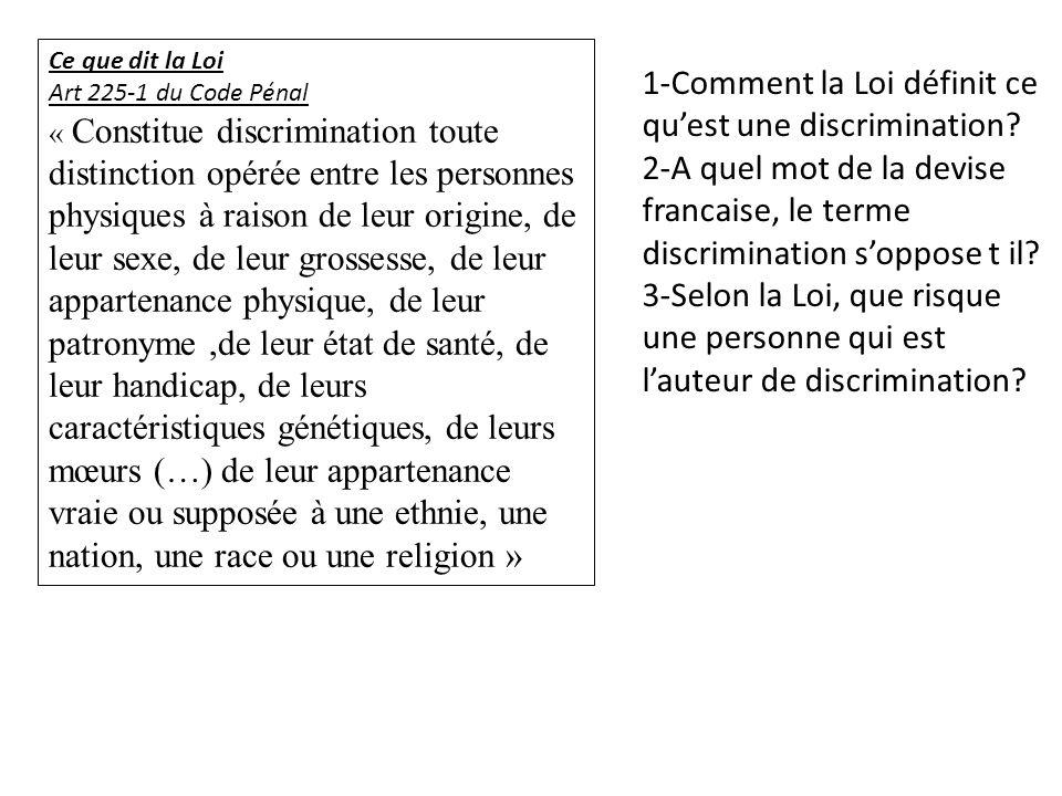 1-Comment la Loi définit ce qu'est une discrimination