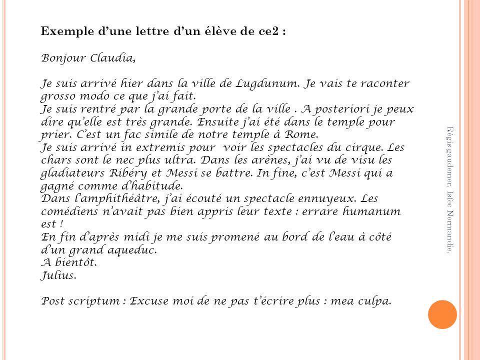 Exemple d'une lettre d'un élève de ce2 :