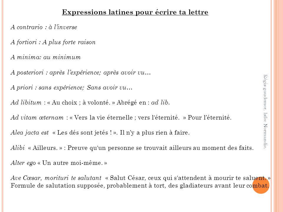 Expressions latines pour écrire ta lettre