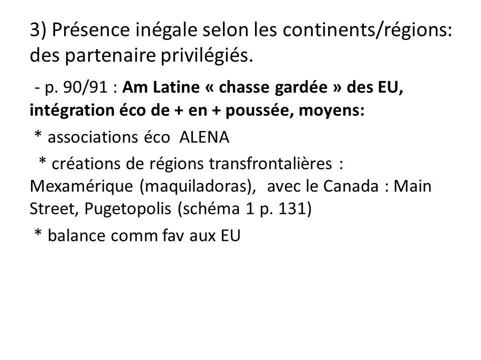 3) Présence inégale selon les continents/régions: des partenaire privilégiés.