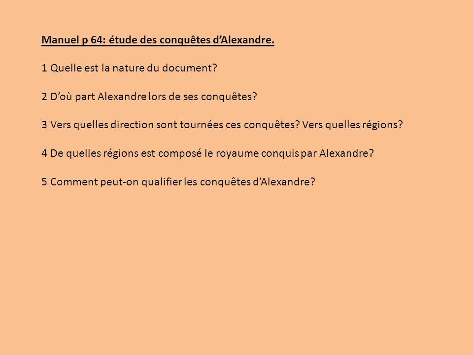 Manuel p 64: étude des conquêtes d'Alexandre.