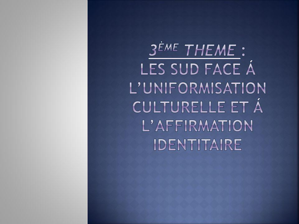3ème THEME : LES SUD FACE Á L'UNIFORMISATION CULTURELLE ET Á L'AFFIRMATION IDENTITAIRE