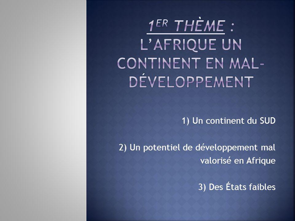 1er THÈME : L'AFRIQUE UN CONTINENT EN MAL-DÉVELOPPEMENT