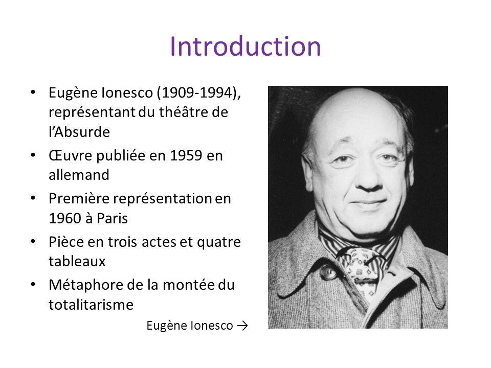 Introduction Eugène Ionesco (1909-1994), représentant du théâtre de l'Absurde. Œuvre publiée en 1959 en allemand.