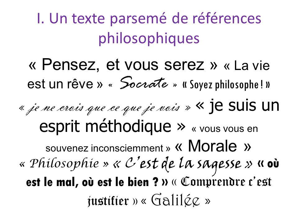 I. Un texte parsemé de références philosophiques
