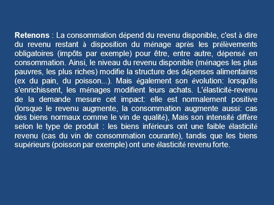 Retenons : La consommation dépend du revenu disponible, c est à dire du revenu restant à disposition du ménage après les prélèvements obligatoires (impôts par exemple) pour être, entre autre, dépensé en consommation.