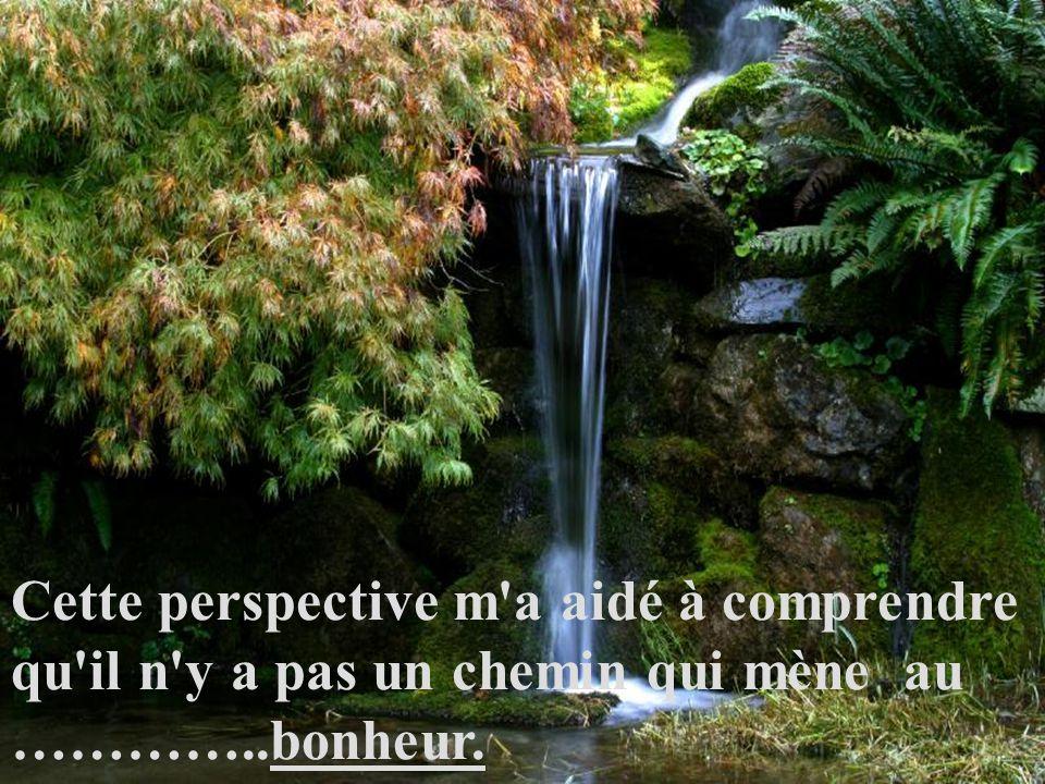 Cette perspective m a aidé à comprendre qu il n y a pas un chemin qui mène au …………..bonheur.