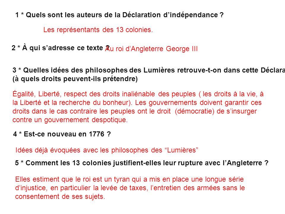 1 * Quels sont les auteurs de la Déclaration d'indépendance