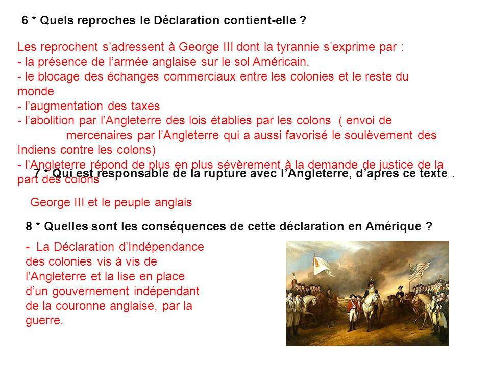 6 * Quels reproches le Déclaration contient-elle