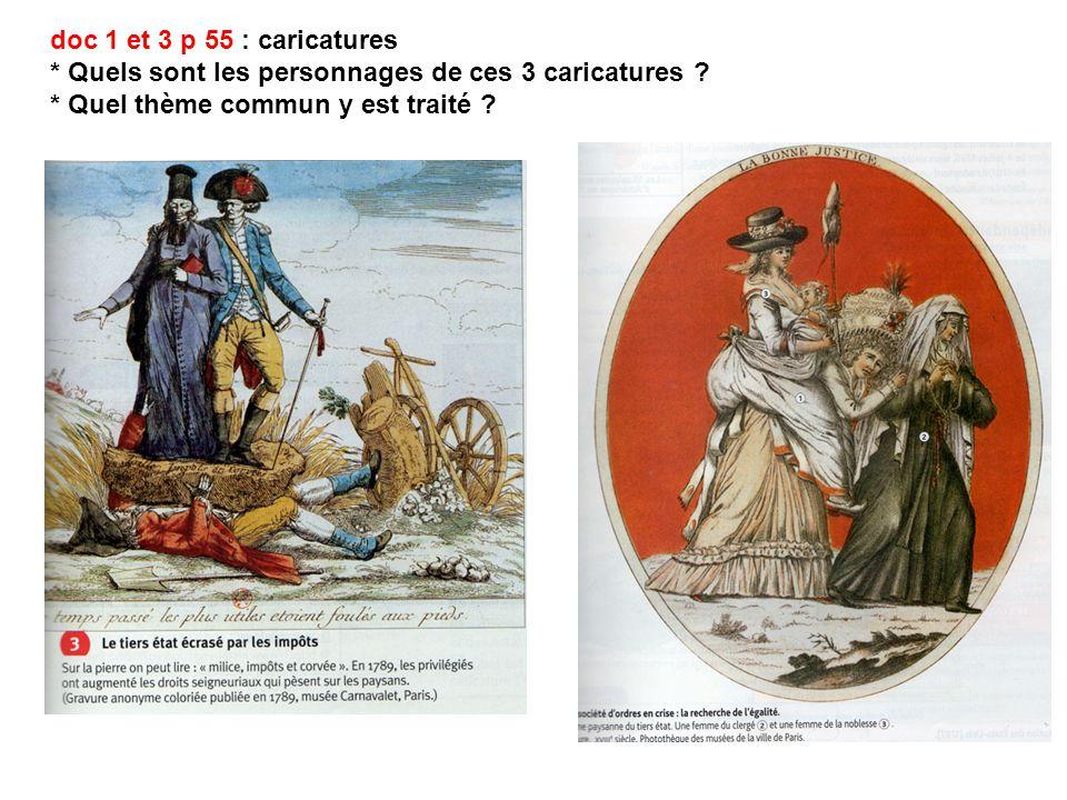 doc 1 et 3 p 55 : caricatures * Quels sont les personnages de ces 3 caricatures .