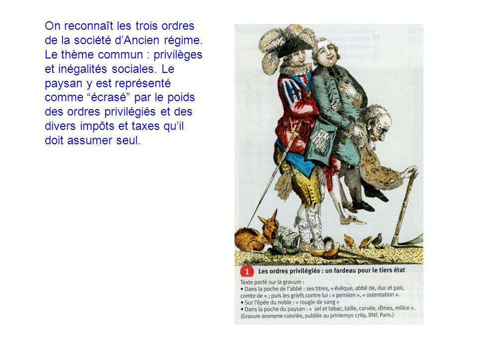 On reconnaît les trois ordres de la société d'Ancien régime.