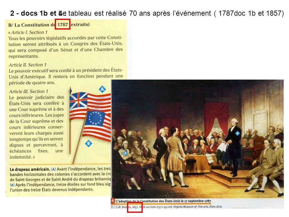 2 - docs 1b et 4 : Le tableau est réalisé 70 ans après l'événement ( 1787doc 1b et 1857)