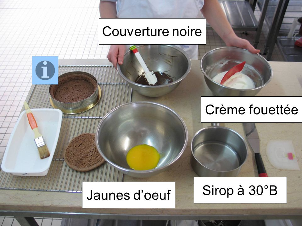 Couverture noire Crème fouettée Sirop à 30°B Jaunes d'oeuf