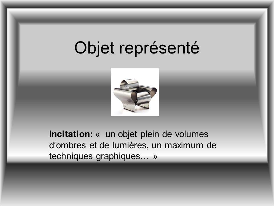 Objet représenté Incitation: « un objet plein de volumes d'ombres et de lumières, un maximum de techniques graphiques… »