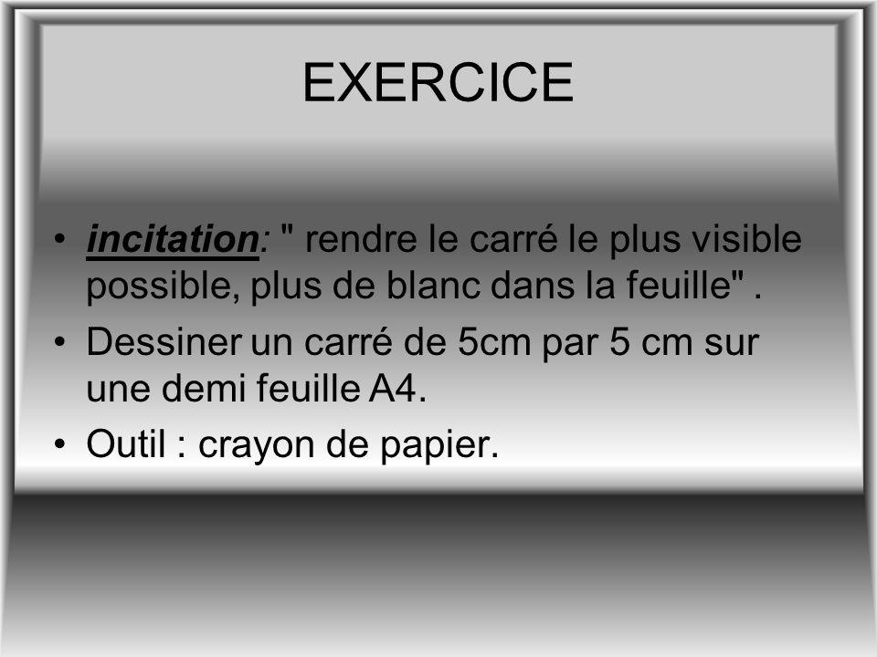EXERCICE incitation: rendre le carré le plus visible possible, plus de blanc dans la feuille .
