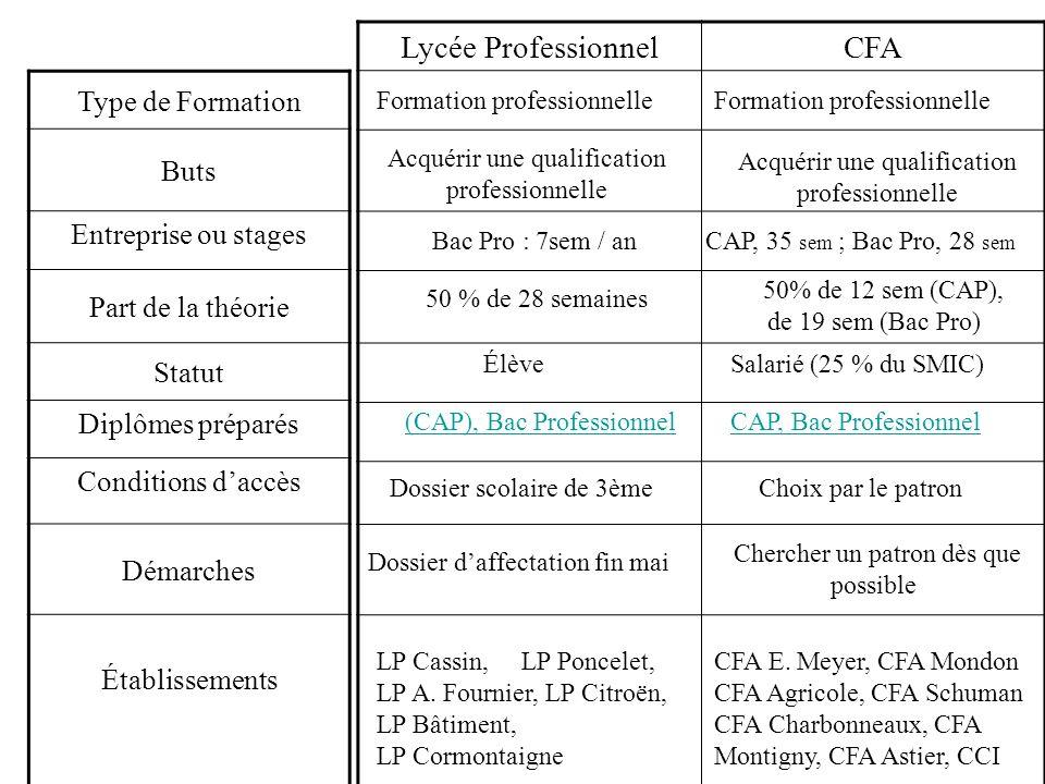Lycée Professionnel CFA Type de Formation Buts Entreprise ou stages