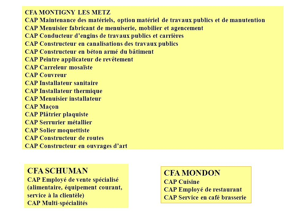 CFA SCHUMAN CFA MONDON CFA MONTIGNY LES METZ