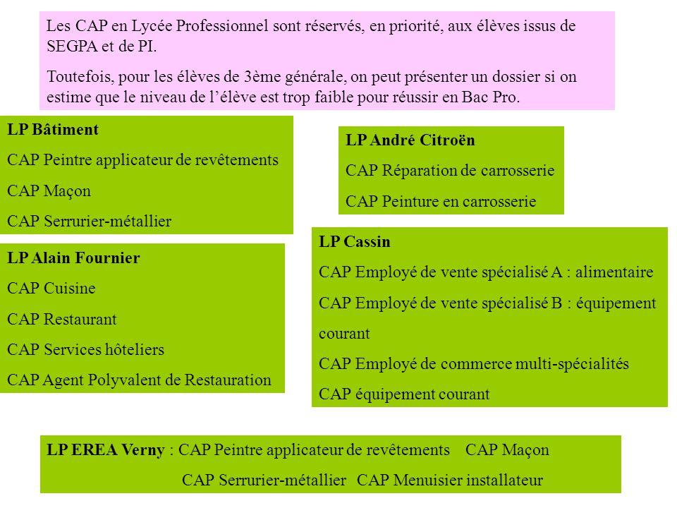 Les CAP en Lycée Professionnel sont réservés, en priorité, aux élèves issus de SEGPA et de PI.