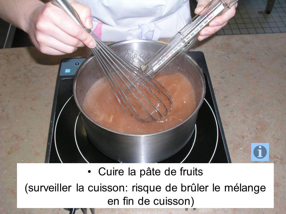 (surveiller la cuisson: risque de brûler le mélange en fin de cuisson)
