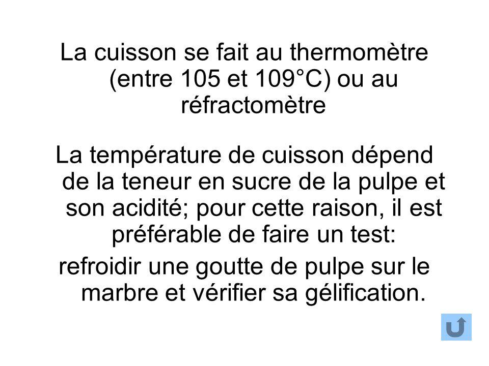 La cuisson se fait au thermomètre (entre 105 et 109°C) ou au réfractomètre