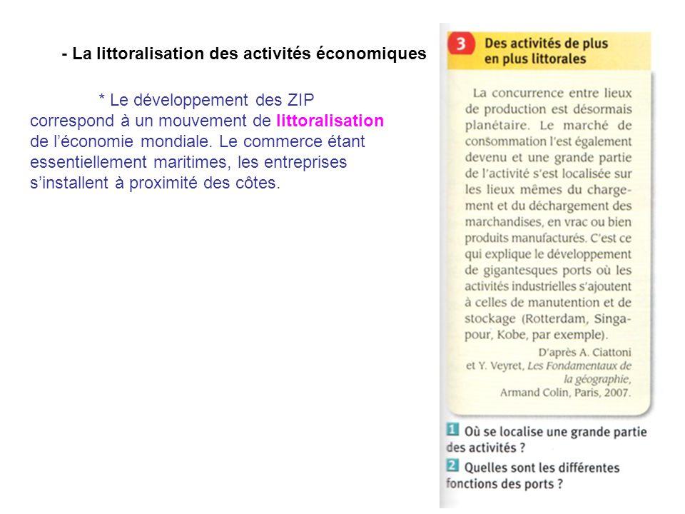 - La littoralisation des activités économiques