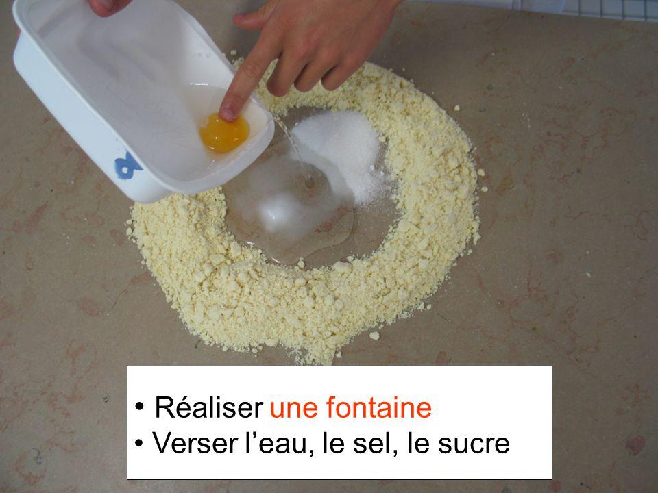 Réaliser une fontaine Verser l'eau, le sel, le sucre