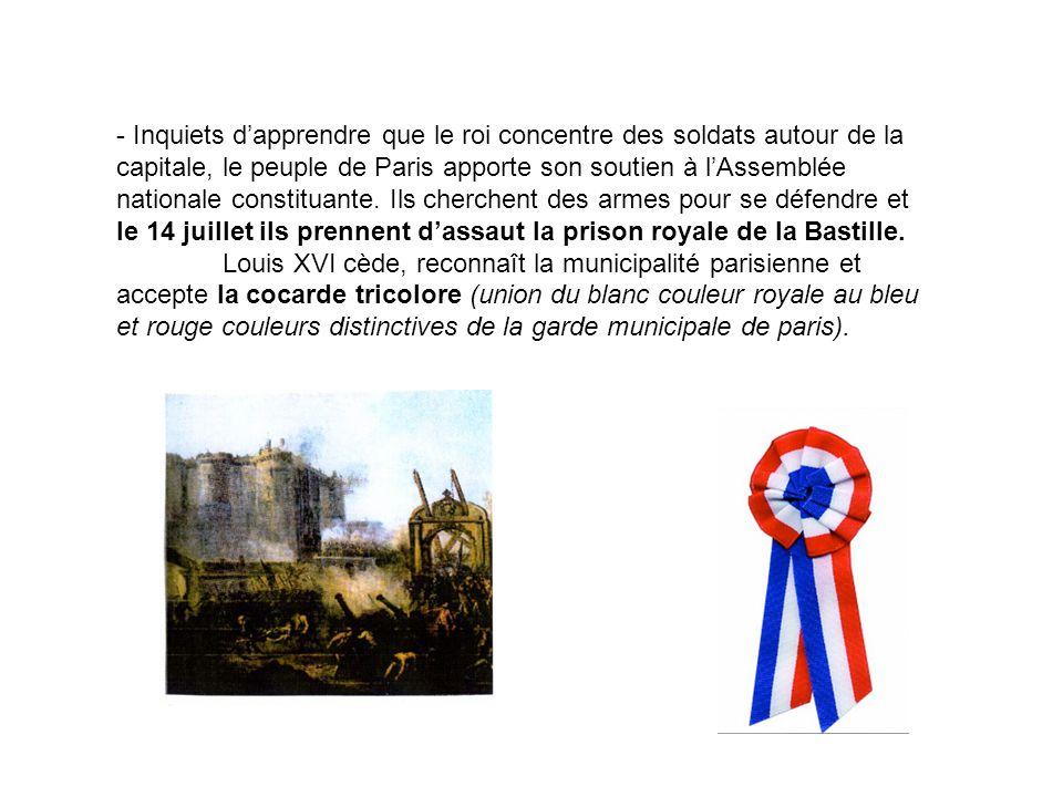 - Inquiets d'apprendre que le roi concentre des soldats autour de la capitale, le peuple de Paris apporte son soutien à l'Assemblée nationale constituante. Ils cherchent des armes pour se défendre et le 14 juillet ils prennent d'assaut la prison royale de la Bastille.
