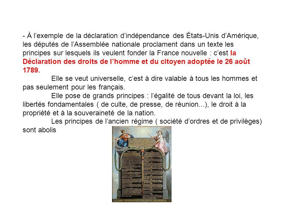 - À l'exemple de la déclaration d'indépendance des États-Unis d'Amérique, les députés de l'Assemblée nationale proclament dans un texte les principes sur lesquels ils veulent fonder la France nouvelle : c'est la Déclaration des droits de l'homme et du citoyen adoptée le 26 août 1789.