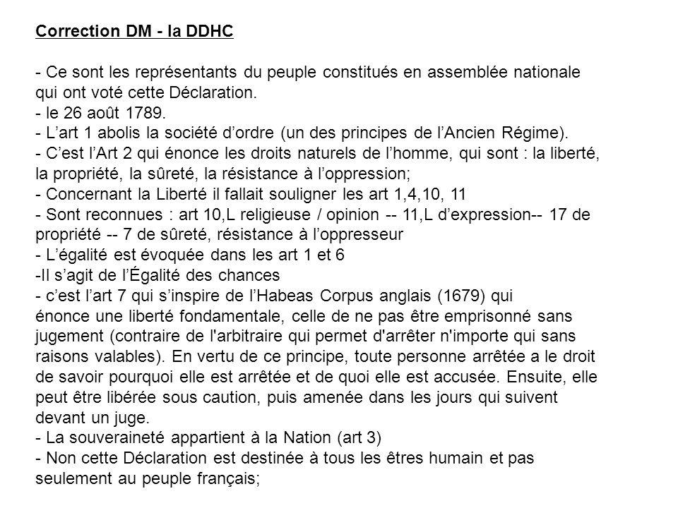Correction DM - la DDHC - Ce sont les représentants du peuple constitués en assemblée nationale qui ont voté cette Déclaration.