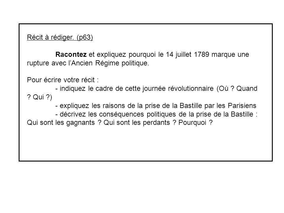 Récit à rédiger. (p63) Racontez et expliquez pourquoi le 14 juillet 1789 marque une rupture avec l'Ancien Régime politique.