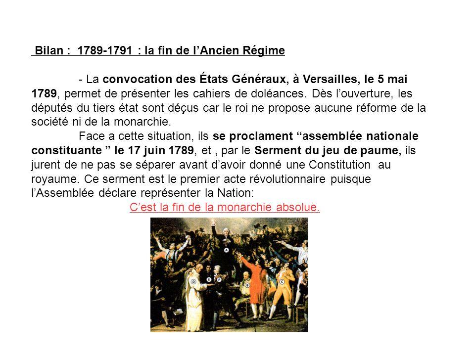 Bilan : 1789-1791 : la fin de l'Ancien Régime