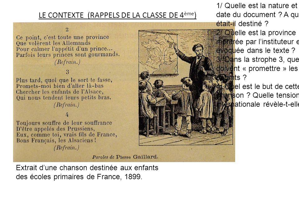 LE CONTEXTE (RAPPELS DE LA CLASSE DE 4ème)