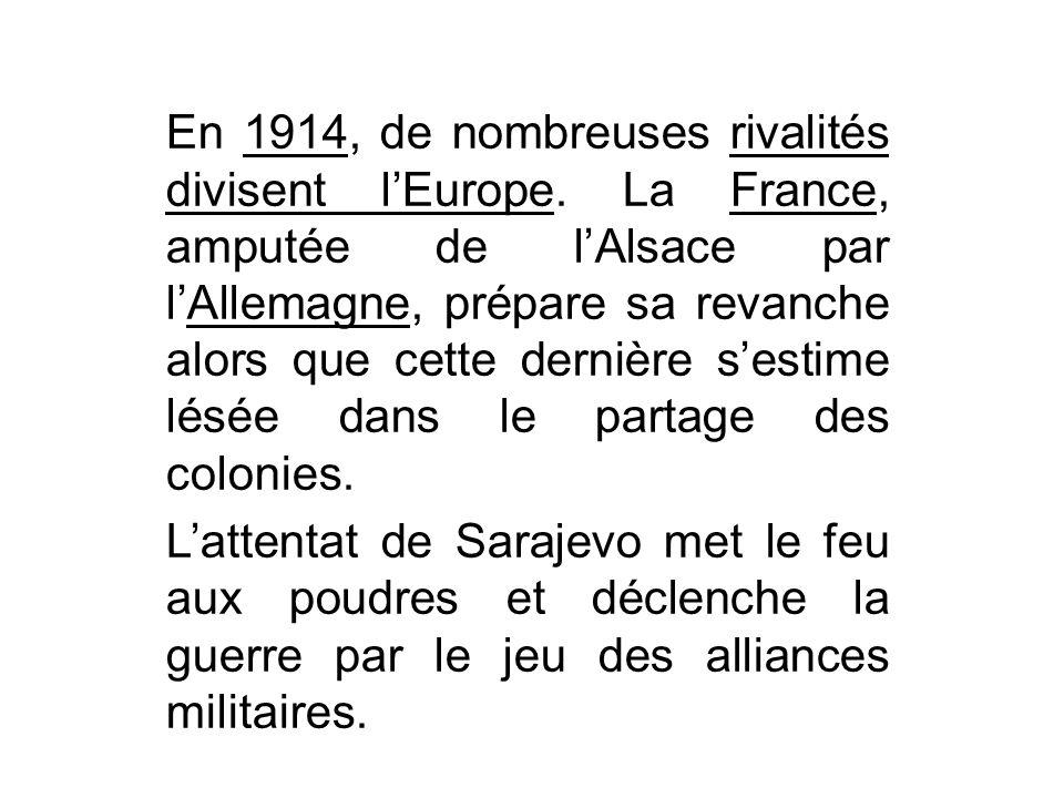 En 1914, de nombreuses rivalités divisent l'Europe