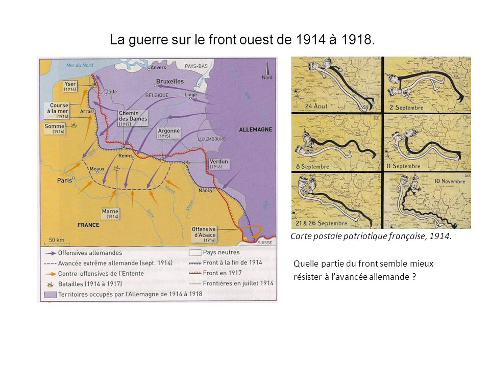 La guerre sur le front ouest de 1914 à 1918.