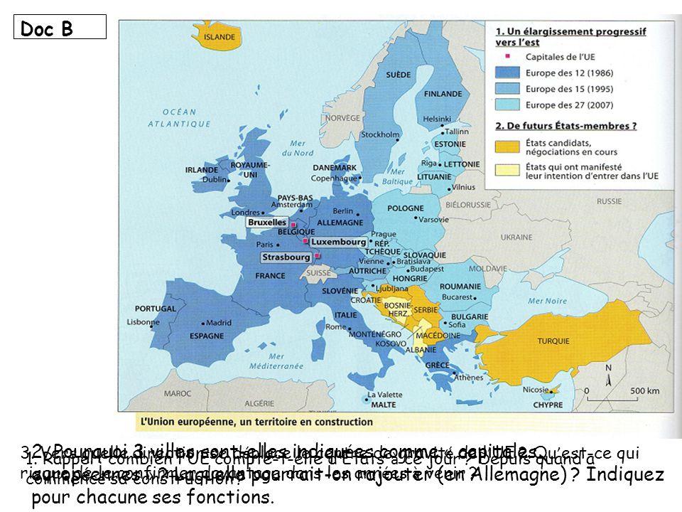 Doc B 3. Vers quelle direction se déplace le centre de gravité de l'UE Qu'est-ce qui risque de le confirmer davantage dans les années à venir