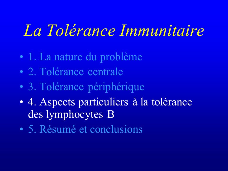 La Tolérance Immunitaire