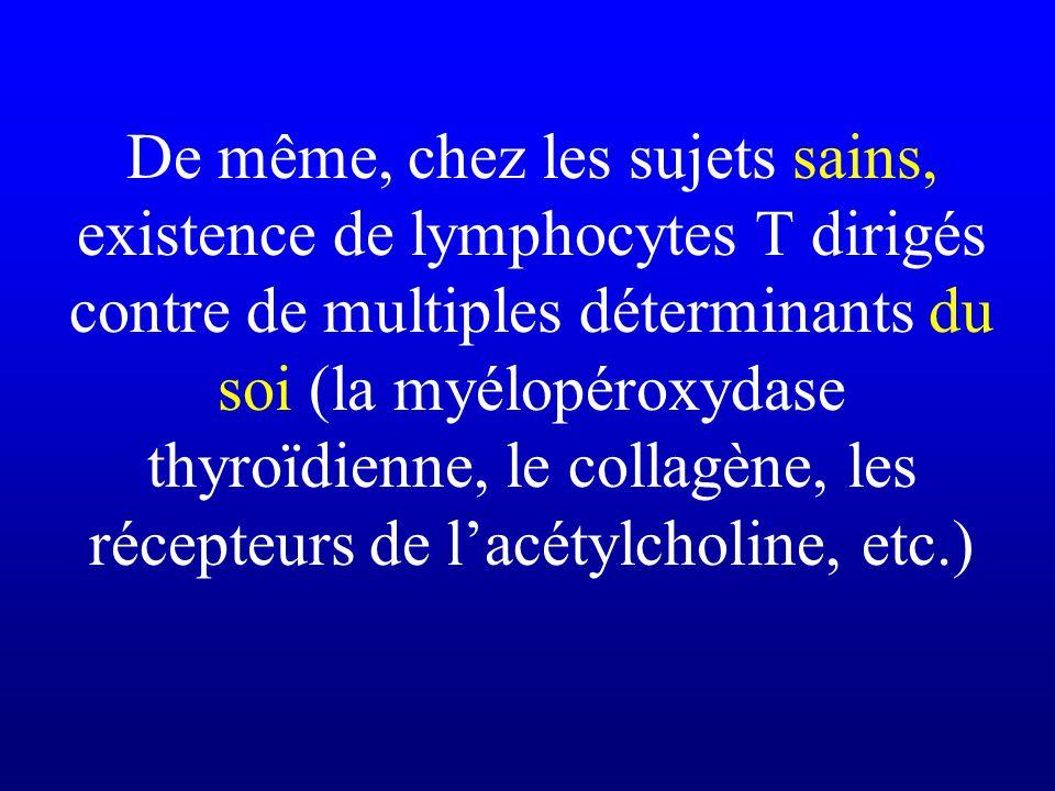 De même, chez les sujets sains, existence de lymphocytes T dirigés contre de multiples déterminants du soi (la myélopéroxydase thyroïdienne, le collagène, les récepteurs de l'acétylcholine, etc.)