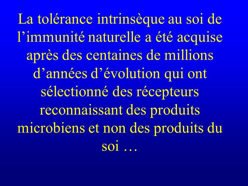 La tolérance intrinsèque au soi de l'immunité naturelle a été acquise après des centaines de millions d'années d'évolution qui ont sélectionné des récepteurs reconnaissant des produits microbiens et non des produits du soi …