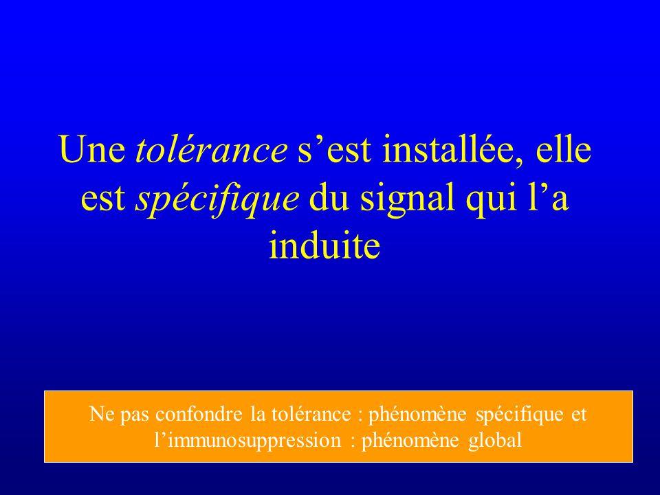Une tolérance s'est installée, elle est spécifique du signal qui l'a induite