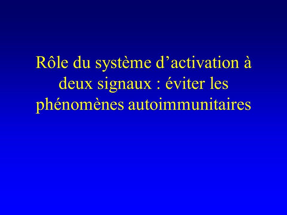 Rôle du système d'activation à deux signaux : éviter les phénomènes autoimmunitaires