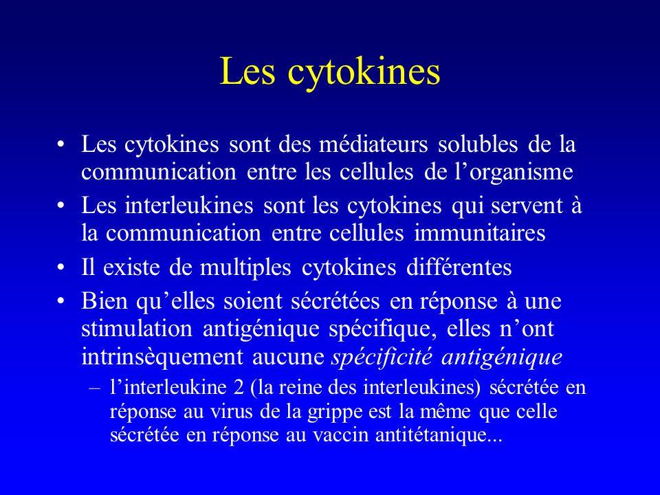 Les cytokines Les cytokines sont des médiateurs solubles de la communication entre les cellules de l'organisme.