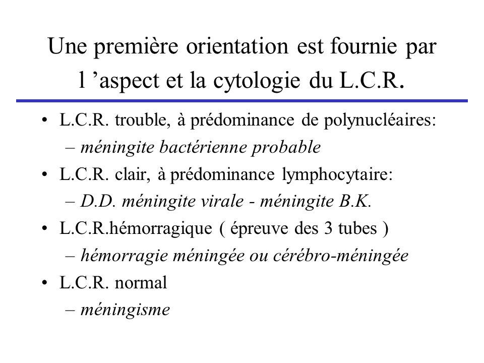 Une première orientation est fournie par l 'aspect et la cytologie du L.C.R.