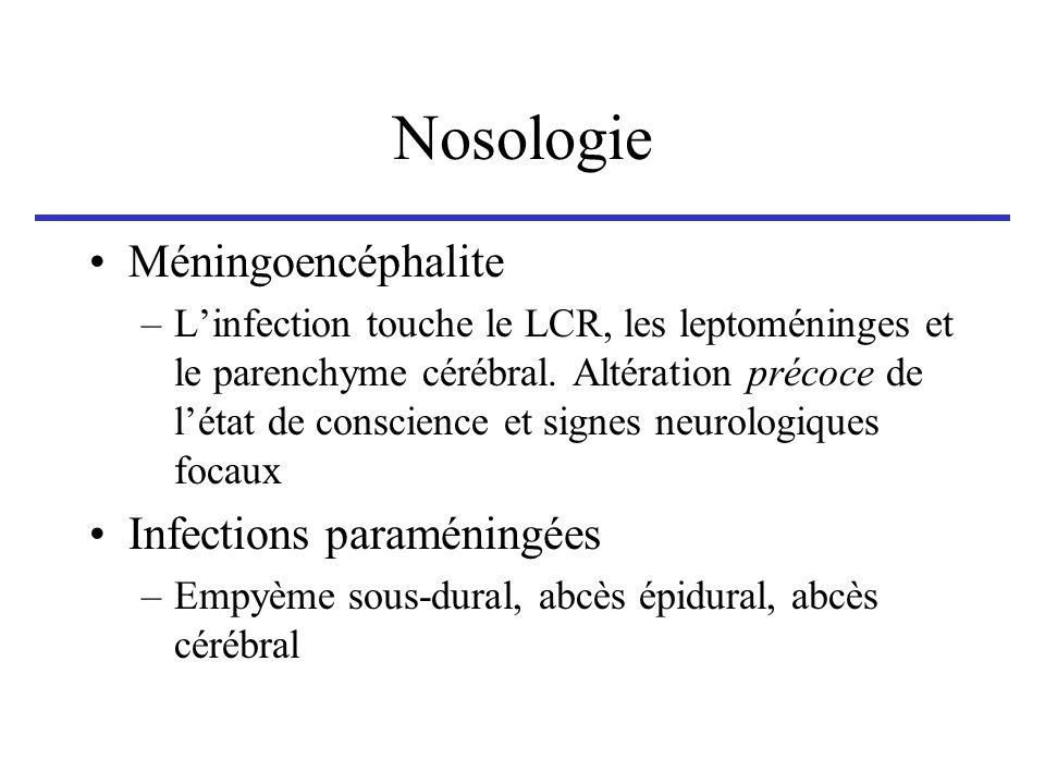 Nosologie Méningoencéphalite Infections paraméningées