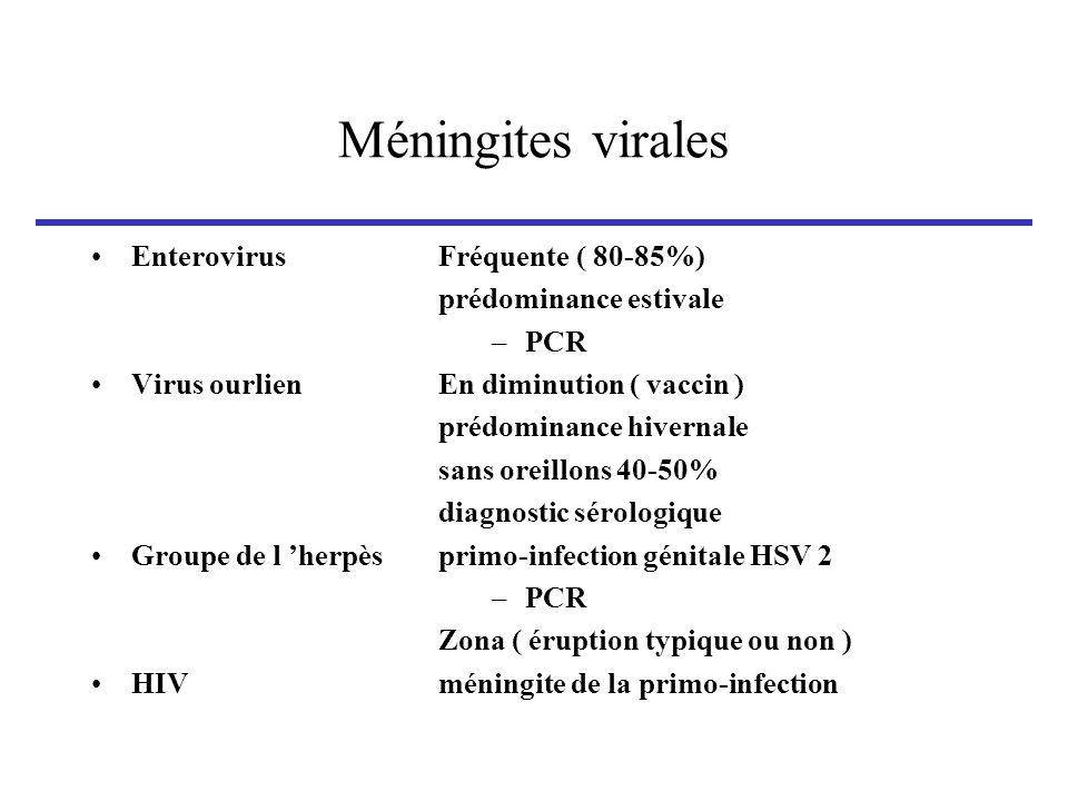 Méningites virales Enterovirus Virus ourlien Groupe de l 'herpès HIV