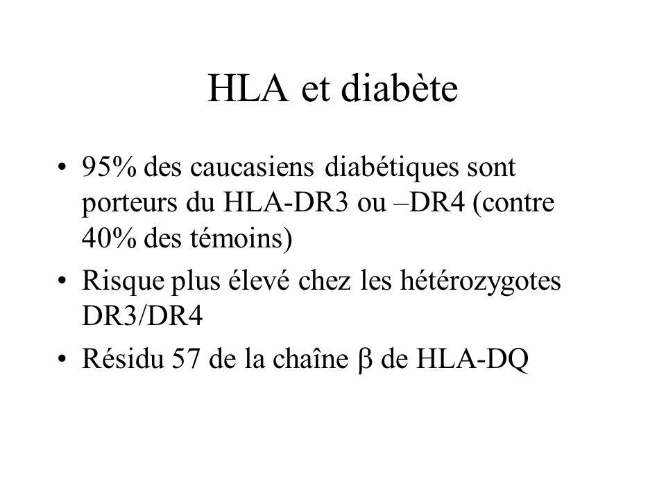 HLA et diabète 95% des caucasiens diabétiques sont porteurs du HLA-DR3 ou –DR4 (contre 40% des témoins)