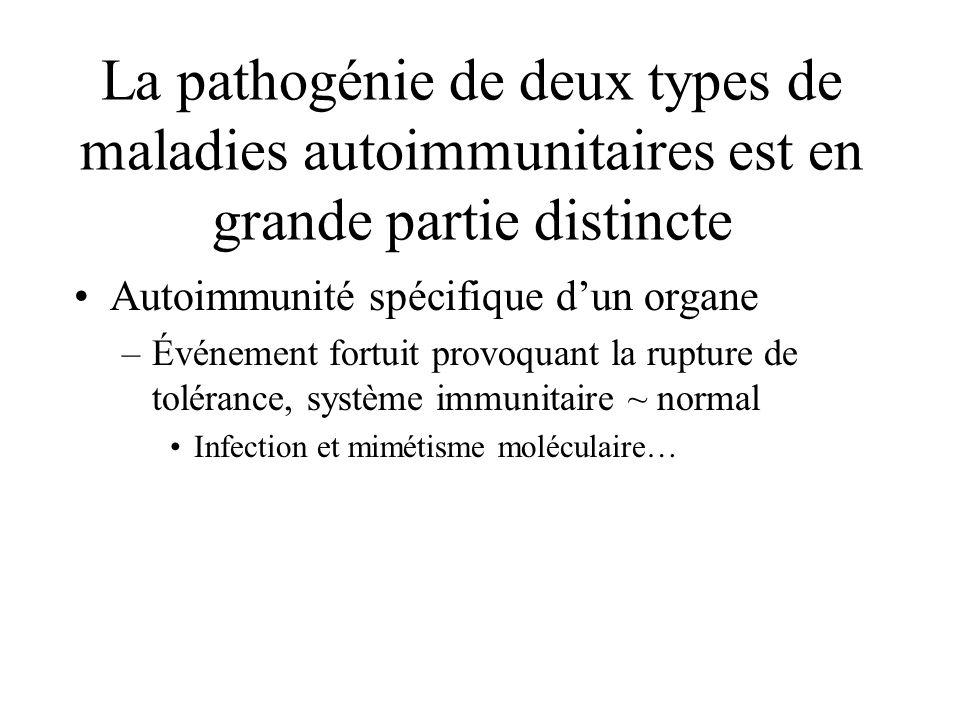 La pathogénie de deux types de maladies autoimmunitaires est en grande partie distincte